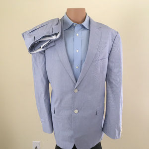 Saddlebred 2 Piece Cotton Suit Size 44R Blue White